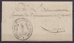 """L. Datée 18 Floréal An 3 (1795) Pour LIEGE - Cachet """"ADMon. Mpale. DU CANTON DE VERVIERS / DEPT. DE L'OURTE"""" - Superbe ! - 1794-1814 (Période Française)"""