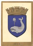 Blason - Heraldique -  Sete -  D'Azur A Une Baleine D'Argent -  CPSM ° - Sete (Cette)