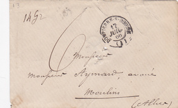 PSC De Dompierre-sur-Besbre (03) Pour Moulins (03) - 17 Juillet 1866 - CAD Rond Type 15 - TM 6 + Mention Manuscrite 14gr - 1849-1876: Classic Period