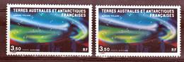 TAAF PA  81  Aurore Polaire Variété Poste Aérienne En Rouge Et Normal Blanc Neuf ** MNH Sin Charmela - Imperforates, Proofs & Errors