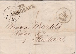 LAC De Bordeaux (33) Pour Gaillac (81) - 10 Juillet 1829 - CAD Type Dateur A - Marque Linéaire 32 BORDEAUX + TM 6 - 1801-1848: Voorlopers XIX