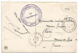 MAYENCE ALLEMAGNE CARTE POSTE AUX ARMEES 77 1924 + CACHET VIOLET 31E SECTION D'INFIRMIERS MILITAIRES DEPOT - Poststempel (Briefe)