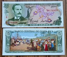 Costa Rica 5 Colones 1990 P-236e UNC BANKNOTE CURRENCY Beautiful Color - Costa Rica