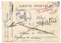 CARTE EN FM BESANCON DOUBS 5.11.1940 POUR INTERNE NOTTWILL  SUISSE + MENTION RAPATRIE + CENSURE NAZI - Poststempel (Briefe)