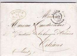LAC De Rouen (76) Pour Orléans (45) - 8 Octobre 1846 - CAD Rond Type 14 & 15 + Taxe Manuelle 3 - 1801-1848: Precursori XIX