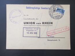 BRD 1955 Gebührenpflichtige Dienstsache Notopfer Marke Und Nachporto Roter Ra1 Nachgebühr VIII Kreisverwaltung Dinslaken - [7] Federal Republic