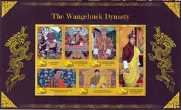 The WANGCHUK Dynasty Series BHUTAN 6-Stamp MINIATURE Sheet 2010 MINT/MNH - Case Reali