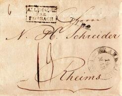 1822 FRANKFURT, Champagner-Bestellung M. T.T.R.2. Allemagne Par Forbach N.Reims - Germany