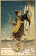Lithographie Glückwunsch Neujahr, München Bayern, Kind, Jahrhundertwende, Stadtansicht, Sterne - Anno Nuovo