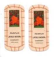 "2 CARTES PARFUMÉES . PARFUM "" JOLI SOIR "" . CHERAMY PARIS - Réf. N°10162 - - Perfume Cards"