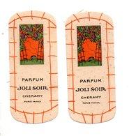 "2 CARTES PARFUMÉES . PARFUM "" JOLI SOIR "" . CHERAMY PARIS - Réf. N°10164 - - Perfume Cards"