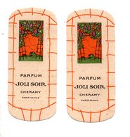 "2 CARTES PARFUMÉES . PARFUM "" JOLI SOIR "" . CHERAMY PARIS - Réf. N°24501 - - Perfume Cards"