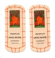"2 CARTES PARFUMÉES . PARFUM "" JOLI SOIR "" . CHERAMY PARIS - Réf. N°10165 - - Cartes Parfumées"