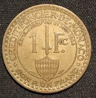 MONACO - 1 FRANC 1924 - Louis II - KM 111 - ( BON POUR 1 FRANC - CREDIT·FONCIER·DE·MONACO ) - Monaco