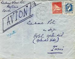 7-7-44 - Enveloppe PAR AVION En F M  De ROGLIANO ( Corse )  Affr. MIXTE 1,50 France + 0,50 F. Algérie - 1921-1960: Periodo Moderno