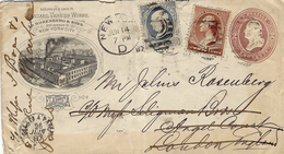 Illustrated Cover E P 2 Cents + 3 Cents From New York To London And Paris - Brieven En Documenten