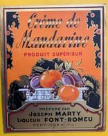 12533 -  Crème De Mandarine Joseph Marty Font-Romeu Perpignan  Ancienne étiquette - Etiquettes