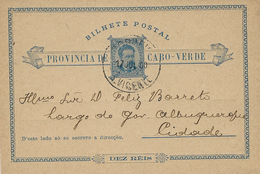 1900 - Bilhete Postal 10 Reis  - Internal Mail - Cap Vert