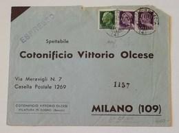 Busta Di Lettera 2 Porti Espresso Cogno-Milano - 31/03/1944 Affrancata Con 25cent. + Coppia L.1 GNR Siglata Caffaz - Storia Postale