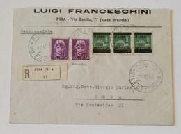 Busta Di Lettera Raccomandata Pisa-Roma - 09/10/1945 - Poststempel