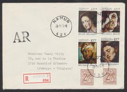 400e Anniversaire De Pierre-Paul Rubens (n°1817/21) Sur Lettre En Recommandé + Griffe AR De Namur (1977) > Moustier-S-Sa - Bélgica