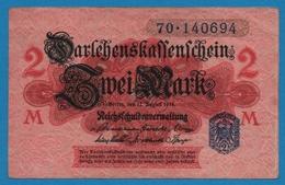 DEUTSCHES REICH 2 Mark 12.08.1914No 70.140694  P# 55 Darlehnskassenschein Reichsschuldenverwaltung - [ 2] 1871-1918 : Impero Tedesco