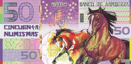 BANCO DE KAMBERRA 50 NUMISMAS 2014 ANNO DEL CAVALLO PRIVATE ISSUE - Bankbiljetten