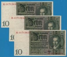 DEUTSCHES REICH LOT 3x10 Reichsmark   22.01.1929 Letter K # H.31715639/40/41P# 180a - 10 Mark