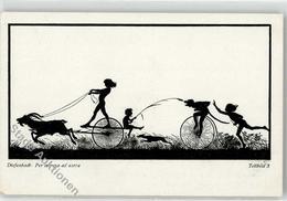 52460166 - Fahrrad Kind Ziege Scherenschnitt - Diefenbach