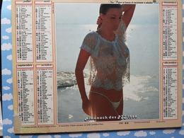 CALENDRIER DU FACTEUR ALMANACH FEMME ROMANTIQUE ECLIPSE PARTIELLE DE LA LUNE 1988 - Calendriers
