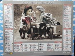 CALENDRIER DU FACTEUR ALMANACH VOITURE A PEDALE AUSTIN ENFANT AU LANDAU CHIEN 2014 - Calendriers