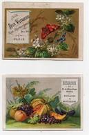 Chromo Desgroux Bonneterie Bulot-Roussel Vêtements Paris Fleurs Papillons Fruits Raisin Pêche Poire (2 Chromos) - Autres