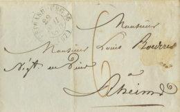 1837  STRASBOURG Bf M. Inh.  6 Dec Taxe N.Rheims - Storia Postale