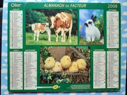 CALENDRIER DU FACTEUR ALMANACH ANIMAUX DE LA FERME VACHE ANE COQ COCHON LAPIN POUSSIN 2008 - Calendriers