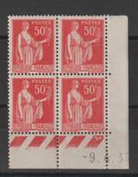 France Coin Daté 1937 Paix 283 III ** MNH - Hoekdatums
