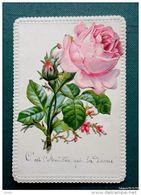 Ancienne Image : Amitié - Rose En Découpis - 1886 - Fleurs