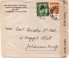RUANDA-URUNDI - LETTRE USUMBURA 1944 Vers JOHANNESBURG - CENSORED CONGO + SOUTH AFRICA  - PE1 - 1924-44: Lettres