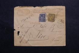 FRANCE - Enveloppe En Chargé De Balleroy Pour Vire En 1884, Affranchissement Sage 10ct + 75ct - L 56124 - Postmark Collection (Covers)