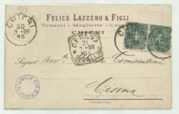 CHIERI - TESSUTI - MAGLIERIE - 1898   VIAGGIATA  FP - Italia