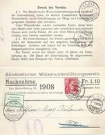 "PrP-8  ""Bündner Waisenunterstützung, Chur"" - Feldis  (refusé)            1908 - Interi Postali"