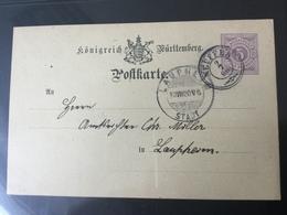 GÄ32343II Württemberg Ganzsache Stationery Entier Postal P 22/03 Von Neuffen Nach Laupheim - Wuerttemberg