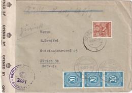 ALLEMAGNE 1947 ZONE AAS LETTRE CENSUREE DE GEVELSBERG POUR ZURICH - Zone AAS