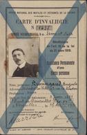 Office National Mutilés Et Réformés De La Guerre 14 Carte D'invalidité Donne Réduction 75% Billet SNCF... 1922 1923 - Postmark Collection (Covers)