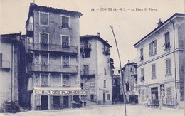 CPA SOSPEL 06 - Place Saint Pierre - Bar Des Platanes - Sospel