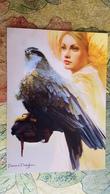 "Modern Ukrainian Postcard ""Falconry. FAUCON HUNTING"" By Bianca Draghici-   Falco HALCONEROS / FAUCONNIER / FALCONER - Vogels"