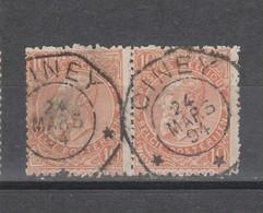 COB 57 En Paire Sans Bandelette Oblitération Centrale Télégraphe CINEY - 1893-1900 Thin Beard
