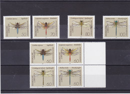 ALLEMAGNE 1991 LIBELLULE Yvert 1373-1380 NEUF** MNH Cote : 14 Euros - Unused Stamps