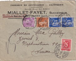 FRANCE 1938 LETTRE DE THIERS TAXEE A ZURICH - Postmark Collection (Covers)