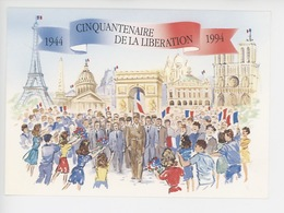 Paris : Cinquantenaire De La Libération 1944-1994 (Général De Gaulle, Tour Eiffel Triomphe Notre Dame..) Cp Vierge - War 1939-45