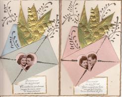 Fantaisie - Ancienne - Amour -  1er Mai - Carte Luxe - Lot De 5 - Fêtes - Voeux